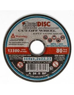 Disc abraziv pentru taiat metal si inox Lugadisc Autentic 115X1,2X22,2