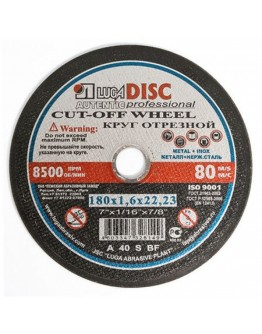 Disc abraziv pentru debitat metal si inox LUGADISC AUT180X1,6X22,2