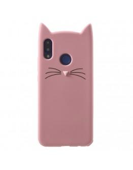 Carcasa protectie spate pisica pentru Huawei P20 Lite, roz