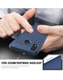 Carcasa protectie spate din piele ecologica si gel TPU pentru Huawei P20 Lite, albastra inchis