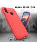 Carcasa protectie spate din piele ecologica si gel TPU pentru Huawei P20 Lite, rosie
