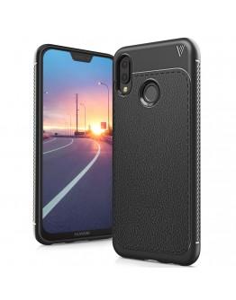 Carcasa protectie spate din piele ecologica si gel TPU pentru Huawei P20 Lite, neagra