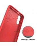 Carcasa protectie spate din piele ecologica si gel TPU pentru Huawei P20, rosie