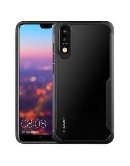 Carcasa protectie spate din plastic si gel TPU pentru Huawei P20, neagra