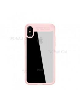 Carcasa protectie spate din gel TPU si acrilic pentru iPhone X/Xs 5.8 inch, roz