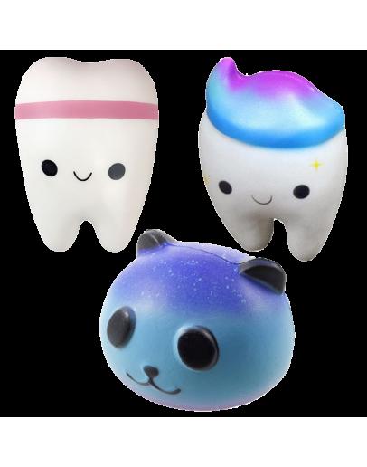 Pachet squishy panda, dintisor alb si dintisor albastru