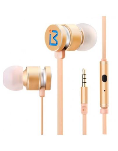 Casti in-ear BENWIS EPM-200 cu microfon si control pe fir - gold