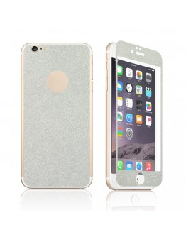 Pachet sticla securizata fata si sticker pentru spate cu sclipici pentru iPhone 6 Plus / 6s Plus 5.5 inch, silver