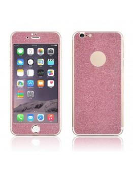 Pachet sticla securizata fata si sticker pentru spate cu sclipici pentru iPhone 6 Plus / 6s Plus 5.5 inch, roz