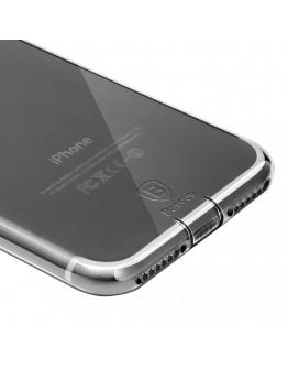 Carcasa protectie spate cu dopuri anti-praf pentru iPhone 7 Plus, neagra