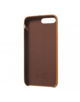 Carcasa protectie spate din piele ecologica si plastic pentru iPhone 7 / iPhone 8, maro