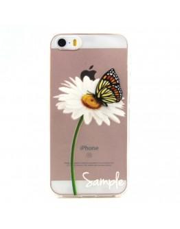 """Carcasa protectie spate imprimata """"Fluture si margareta"""" pentru iPhone SE 5s 5"""