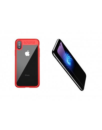 Pachet carcasa protectie spate si sticla securizata protectie ecran pentru iPhone X/Xs 5.8 inch