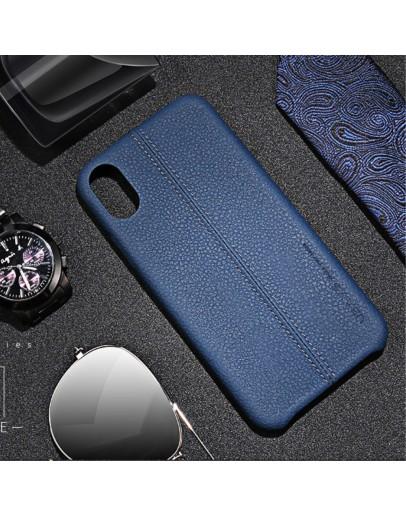 Carcasa protectie spate din piele ecologica si plastic pentru iPhone X/Xs 5.8 inch, albastra
