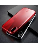 Carcasa protectie spate din gel TPU cu dopuri anti-praf pentru iPhone X/Xs 5.8 inch, rosie
