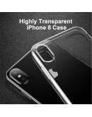 Carcasa protectie spate din gel TPU cu dopuri anti-praf pentru iPhone X/Xs 5.8 inch, neagra