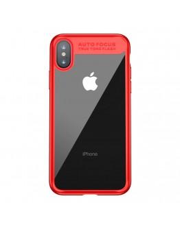 Carcasa protectie spate din gel TPU si plastic pentru iPhone X/Xs 5.8 inch, rosie