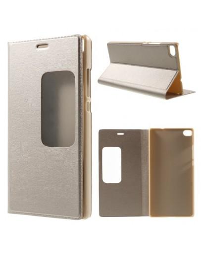 Husa protectie cu fereastra pentru Huawei Ascend P8 - gold