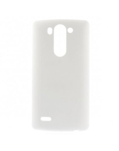 Carcasa protectie spate din plastic cauciucat pentru LG G3 D850 - alba