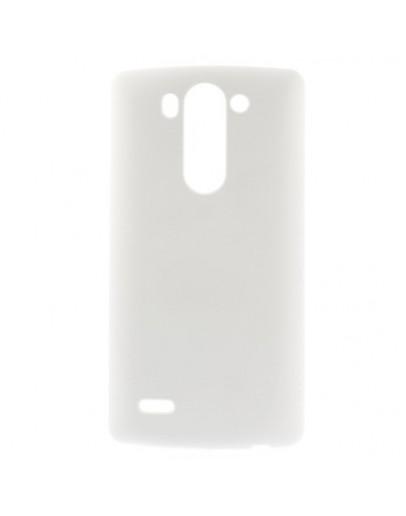 Carcasa protectie spate din plastic cauciucat pentru LG G3S - alba