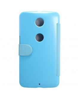 Husa protectie flip cover pentru Motorola Moto Nexus 6 - albastra