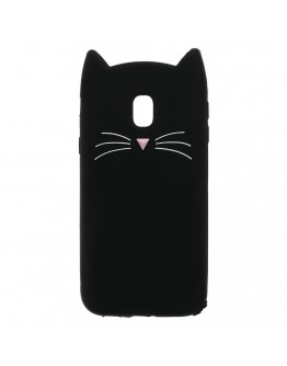 Carcasa protectie spate pisica pentru Samsung Galaxy J3 (2017), neagra