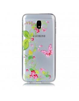 Carcasa protectie imprimata ,,Flori si fluturi'' din gel TPU pentru Samsung Galaxy J3 (2017)