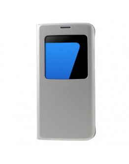 Husa de protectie de tip flip cover cu fereastra pentru Samsung Galaxy S7 Edge G935, gri