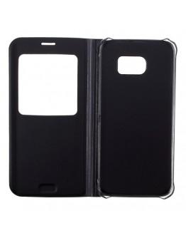 Husa de protectie de tip flip cover cu fereastra pentru Samsung Galaxy S7 Edge G935, neagra