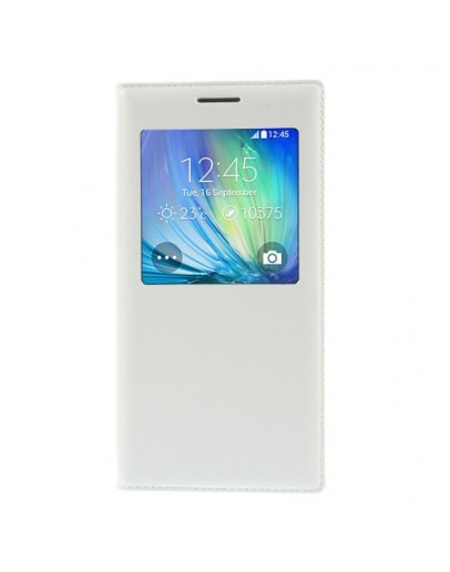 Husa protectie flip cover cu fereastra pentru Samsung Galaxy A5 SM-A500F - alba