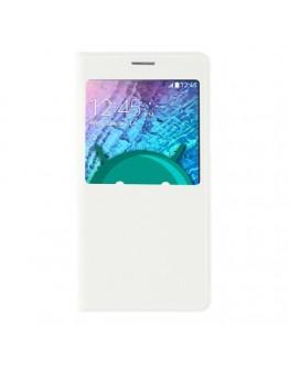 Husa protectie flip cover cu fereastra pentru Samsung Galaxy J5 - alba