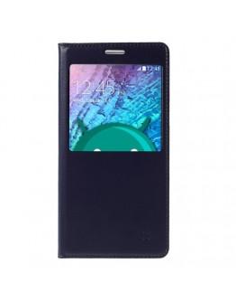 Husa protectie flip cover cu fereastra pentru Samsung Galaxy J5 - albastra