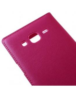 Husa protectie flip cover cu fereastra pentru Samsung Galaxy J5 - roz inchis