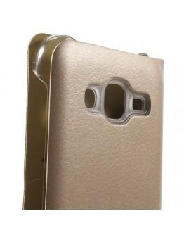 Husa protectie flip cover pentru Samsung Galaxy J5 - gold