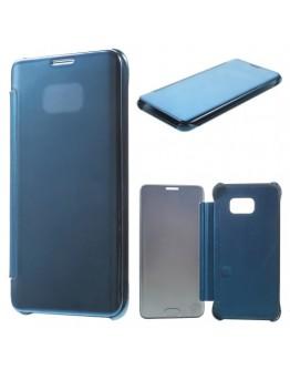 Husa de protectie flip cover cu suprafata oglinda pentru Samsung Galaxy S6 Edge Plus - albastra