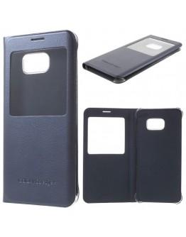 Husa protectie din piele ecologica cu fereastra pentru Samsung Galaxy S6 Edge Plus - albastru inchis