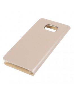 Husa protectie din piele ecologica cu fereastra pentru Samsung Galaxy S6 Edge Plus - gold