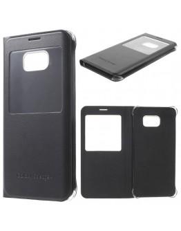 Husa protectie din piele ecologica cu fereastra pentru Samsung Galaxy S6 Edge Plus - neagra