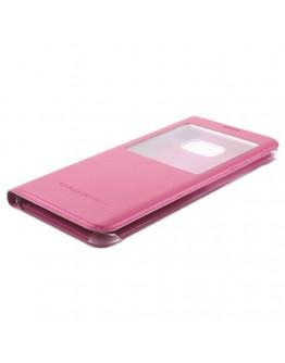 Husa protectie din piele ecologica cu fereastra pentru Samsung Galaxy S6 Edge Plus - roz