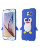 "Carcasa protectie spate din silicon ""pinguin"" pentru Samsung Galaxy S6 G920 - albastru inchis"