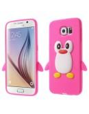 "Carcasa protectie spate din silicon ""pinguin"" pentru Samsung Galaxy S6 G920 - roz inchis"