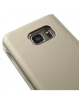 Husa de protectie cu fereastra CS pentru Samsung Galaxy S7 G930, gold